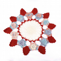 Autumnal coloured crocheted doily from a 1940's vintage pattern