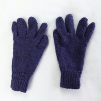Hand knitted purple blue mix children's gloves - winter gloves - full fingered