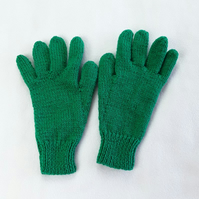 Hand knitted emerald green children's gloves - winter gloves - full fingered