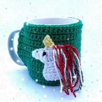 Hand crocheted green Christmas themed unicorn mug cosy with sparky mane