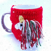 Christmas themed unicorn mug cosy with sparky Christmas mane - red hand crochet