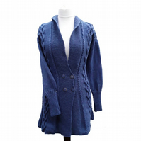 Hand knitted ladies denim blue fit n flared aran style jacket cardigan