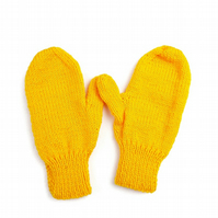 Hand knitted children's mittens in gold yellow - winter gloves - classic mittens