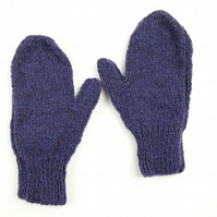 Hand knitted children's mittens blue purple mix - winter gloves