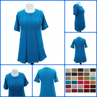 Hand knitted ladies alpaca tunic with cables and pleats short sleeves