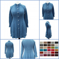 Hand knitted fitted jacket cardigan with cables for ladies women S - XXXL