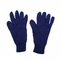 Hand knitted children's wool gloves in blue purple mix yarn winter accessories