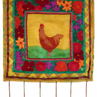 """Retro Chicken"" - silk wallhanging"