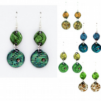 Dangly circle earrings (blues & greens)