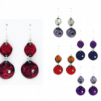 Dangly circle earrings (purples & reds)