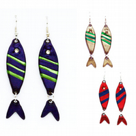 Stripey fish earrings