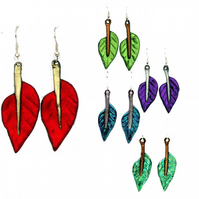 Leaf earrings in bright colours