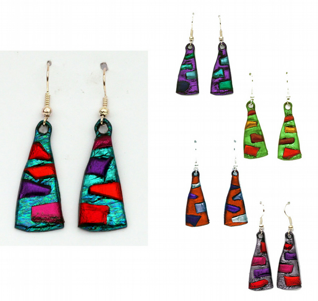 Triangle earrings in bright colours