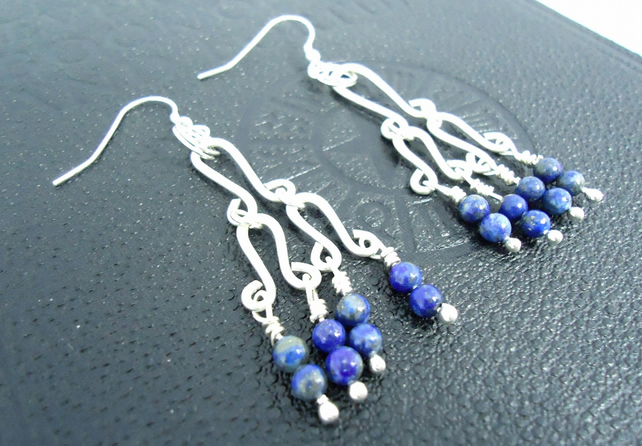 Ethnic Earrings Long Silver Earrings Chandelier lapis lazuli earrings hallmarked