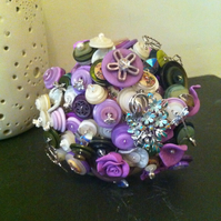 Button and Brooch Bouquet - purple and green - Keepsake Bouquet