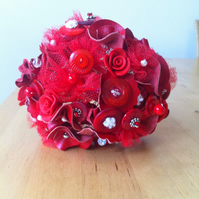 Button Bouquet  - Red Button and Leather