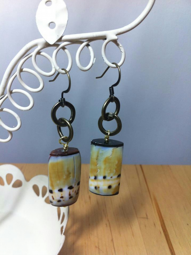 Tropical Dotty Line Shell Rectangle Earrings with Brass Links