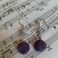 Gem Amethyst Coin Earrings