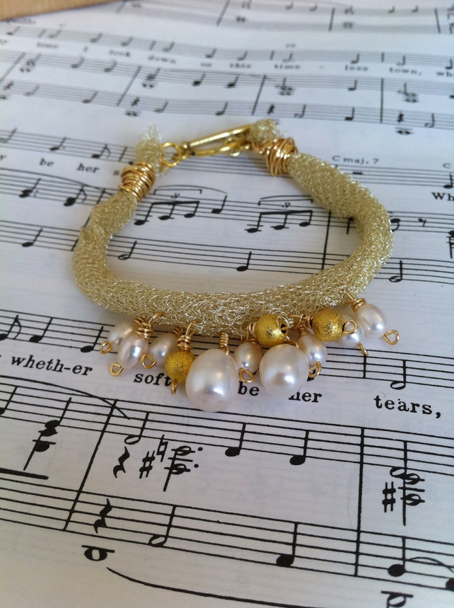 Gold Knitted Wire and Freshwater Pearl Bracelet - June Birthstone