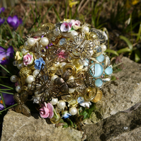 Button and Brooch Bouquet - Vintage Spring Flower and Butterfly