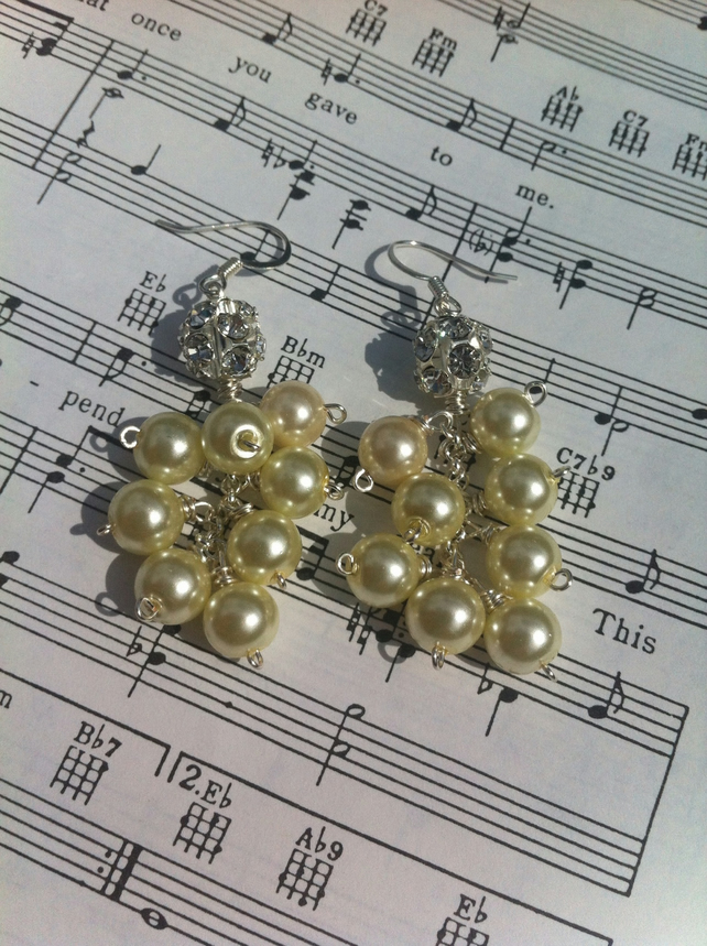 Crystal cluster and shell pearl drop earrings