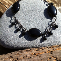 Black Agate Oval and Glass Drop Bracelet