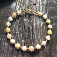 Honey Quartz - Gold Wire Bracelet