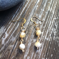 Honey Quartz Wire Wrapped Earrings