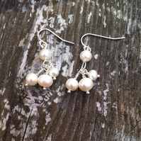 Sterling Silver Pearl Cluster  Earrings