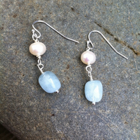 Sterling Silver Pearl And Aquamarine Earrings