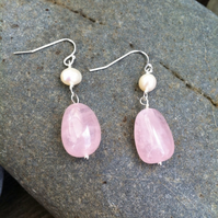 Sterling Silver Pearl And Rose Quartz Earrings