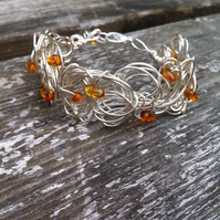 Organic Style Silver Wire Cuff with Baltic Amber