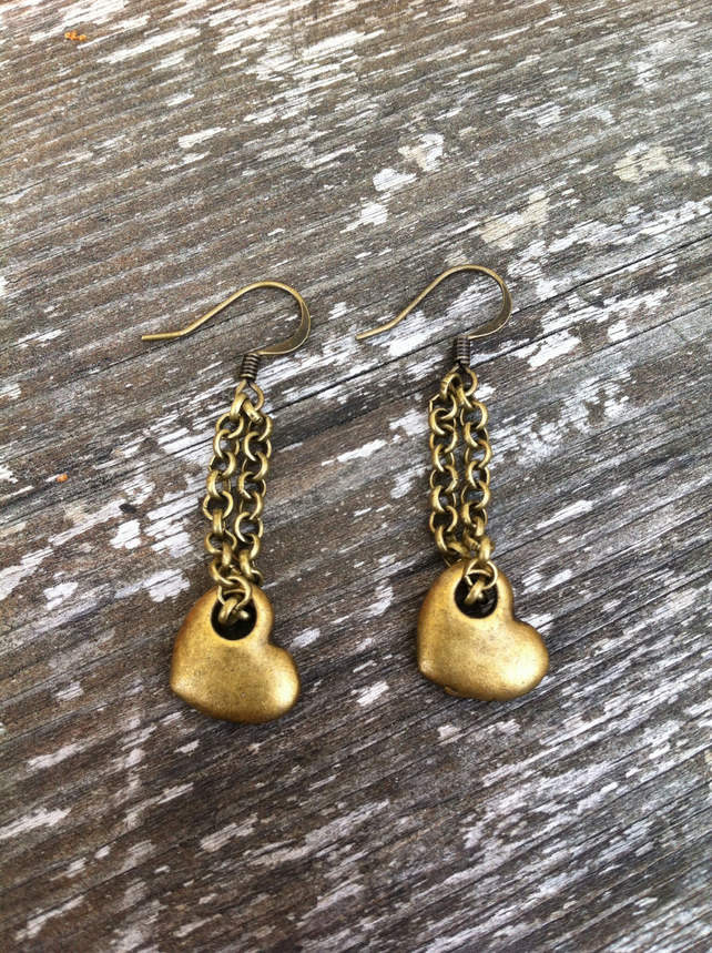 Brass Heart and Chain Earrings