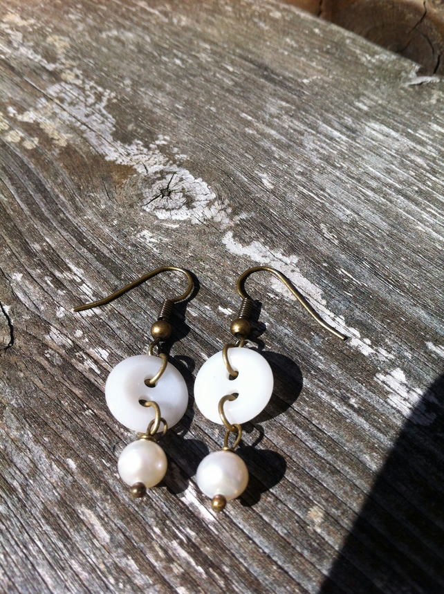 Freshwater Pearl and Button Earrings