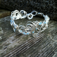Aquamarine Cuff - Organic Style.   March Birthstone