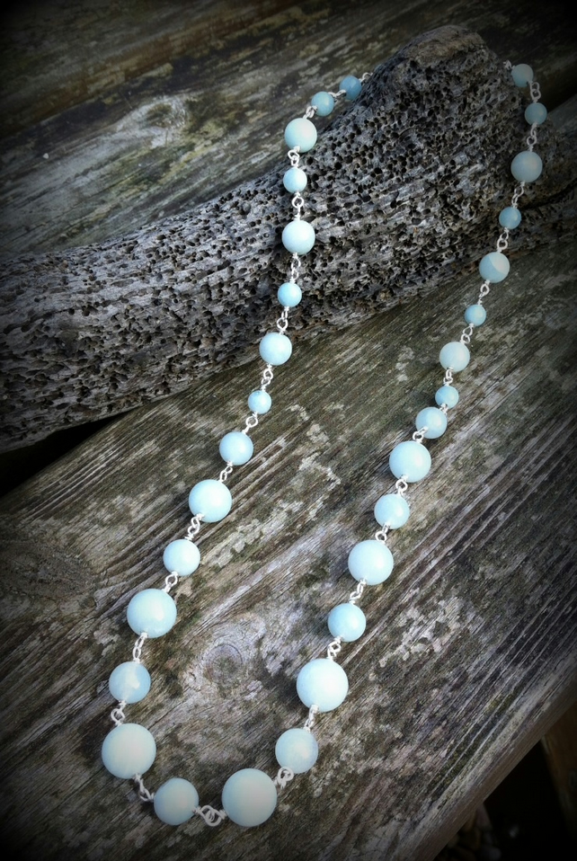 Amazonite Necklace.  Gemstone Jewellery  Gemstone Necklace. Pale Blue Necklace