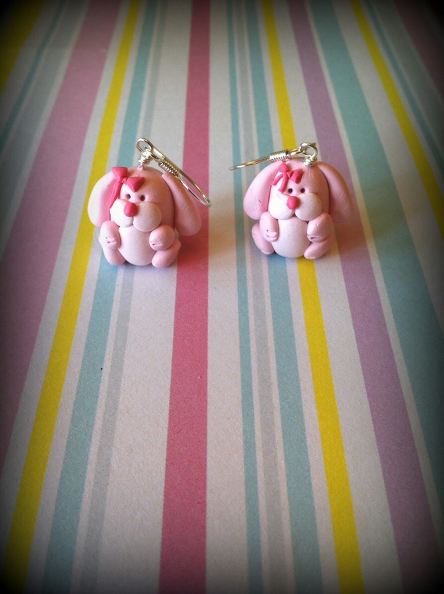Pink Rabbit Earrings