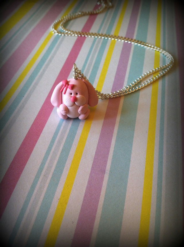 Pink Rabbit Necklace.   Rabbit Necklace  Animal Necklace  Animal Jewellery