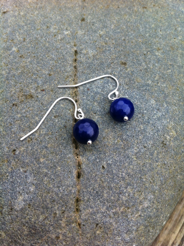 Deep Blue Sapphire and Sterling Silver Earrings    September Birthstone