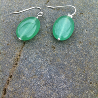 Pale Emerald Gemstone Oval Earrings