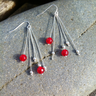 SALE  14.50 - Sterling Silver and Gemstone Ruby Drop Earrings.