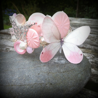 Rose Pink Butterfly Corsage Cuff
