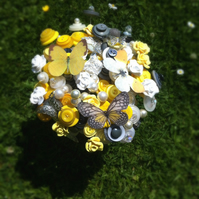 Button Bouquet - Yellow, Grey and Ivory Butterfly Bouquet keepsake Bouquet