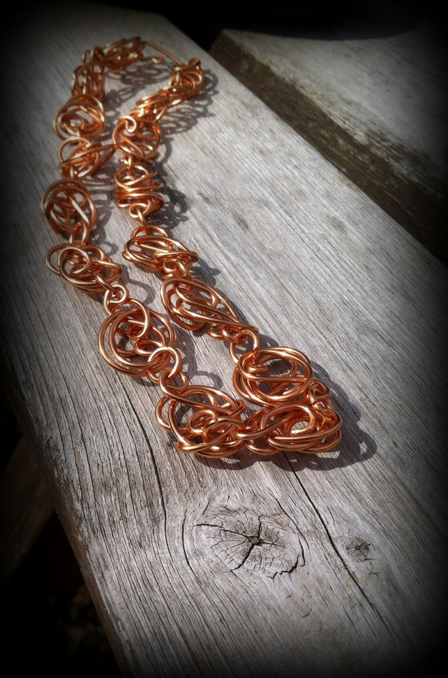 Handmade Freeform Copper Wire Necklace