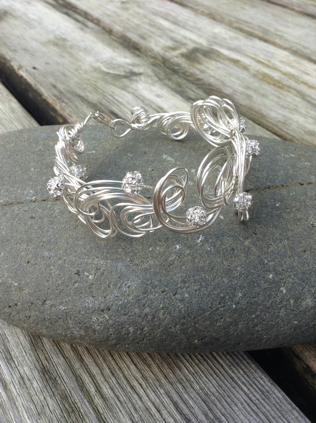 Diamanté Beaded Cuff -Organic Style.    Silver Wire Cuff