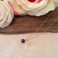 Sterling Silver Heart & Amethyst Necklace   Birthstone Necklace