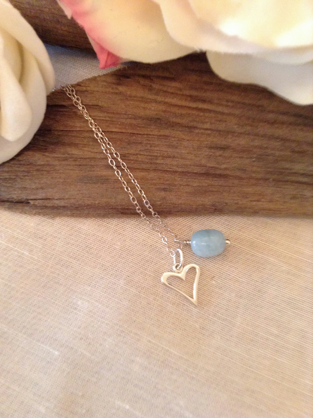 Sterling Silver Heart & Aquamarine Necklace