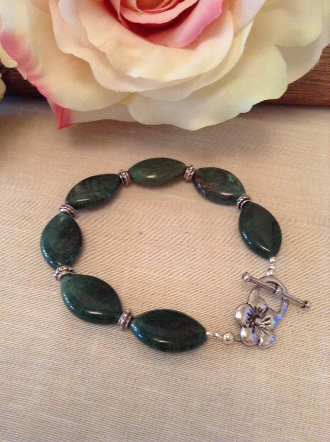Green Aventurine and Bali Silver Bracelet