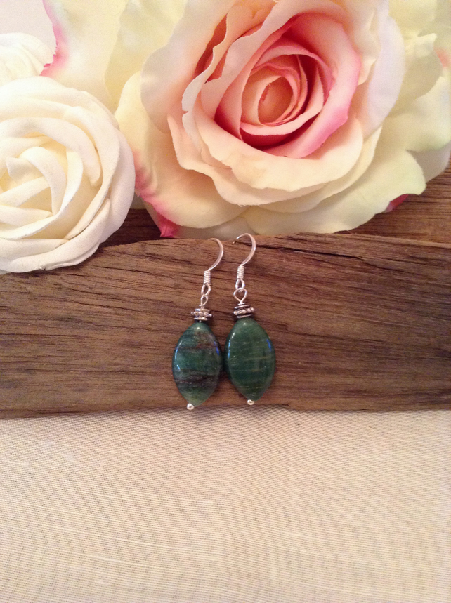 Semi-Precious Green Aventurine And Bali Silver Earrings