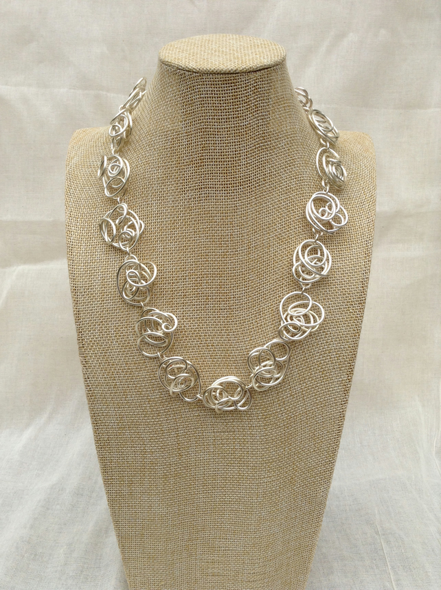 Handmade Freeform Silver Wire Necklace.    Silver Necklace   Statement Necklace
